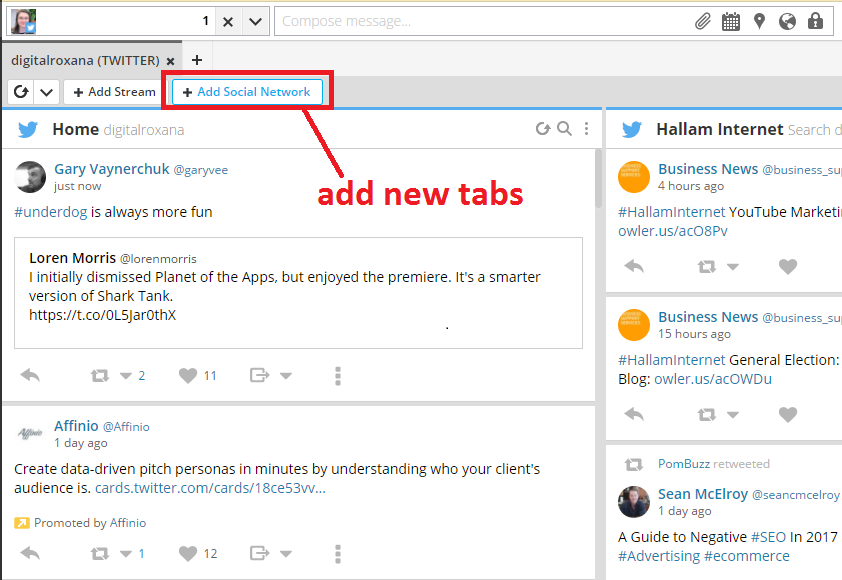 Hootsuite add new tab