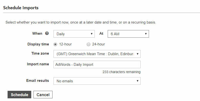 Bing Ads schedule time for importing your AdWords campaigns
