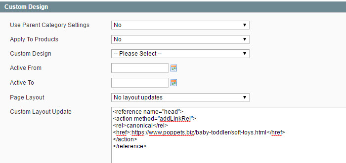 Adding a Canonical tag in Magento for a soft toys category